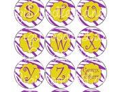 Purple Tiger Stripe-Gold Accents & Purple Letters Alphabet Set Bottlecap Images Bottle Cap Images for Bottlecaps, Hairbows INSTANT DOWNLOAD