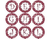 Maroon with White Dots and Maroon Letters Alpha Set Bottlecap images 1 Inch Circles for Bottlecaps Hairbows Jewelry Magnets INSTANT DOWNLOAD