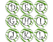 Green Zebra Stripe Alpha Set Bottlecap Images St Patricks Day Alpha 1 Inch Circles for Bottlecaps Hairbows Jewelry Magnets INSTANT DOWNLOAD
