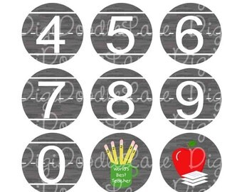 Teacher Chalkboard Numbers and School Supplies Bottlecap Images Bottle cap images School Bottlecaps,Jewelry, Magnets, More INSTANT DOWNLOAD