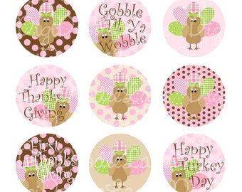 Pink Turkey Girl Bottlecap Images Turkey Bottlecaps Thanksgiving Bottlecap Images Fall Hairbows Jewelry Magnets and More INSTANT DOWNLOAD