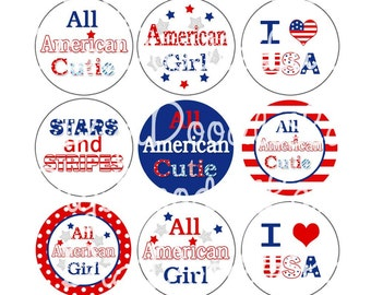 4th of July Bottle Cap Images Stars and Stripes Bottlecap Images Patriotic Bottlecap 4th of July Image Hairbow Necklace INSTANT DOWNLOAD