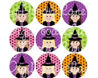Halloween Witch Girls Bottlecap Images Witch Girls Bottlecap 1 Inch Circle for Bottlecaps Hairbows Jewelry Magnets and More INSTANT DOWNLOAD