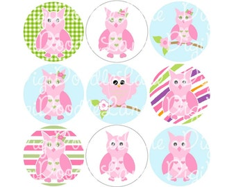 Pink Owls 1 Inch Circles Collage Sheet 4 x 6 Inch JPG for Bottlecaps Hairbows Jewelry Magnets and More