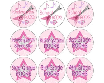 School Rocks Bottlecap Images 1 Inch Circles School Bottle Cap Images for Bottlecaps Hairbows Jewelry Magnets and More INSTANT DOWNLOAD