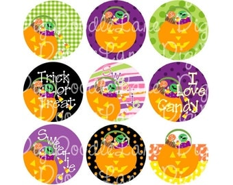 Halloween Candy Bucket Bottlecap Images Bottle Cap 1 Inch Circle Collage Sheet Bottlecaps Hairbows Jewelry Magnets and More INSTANT DOWNLOAD