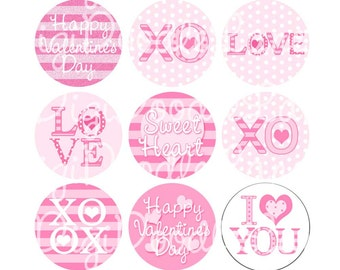 Valentine Bottlecap Image Love XO Hearts Valentine 1 Inch Circles Collage Sheet 4 x 6 Inch JPG Bottlecaps Hairbows Jewelry Instant Download