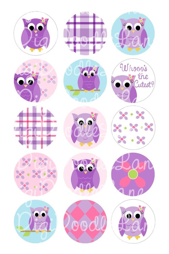 Pretty Purple Owls Bottlecap Images for Bottlecaps Hairbows Jewelry Magnets and More Owl Bottlecap Images Owl Bottle Cap INSTANT DOWNLOAD