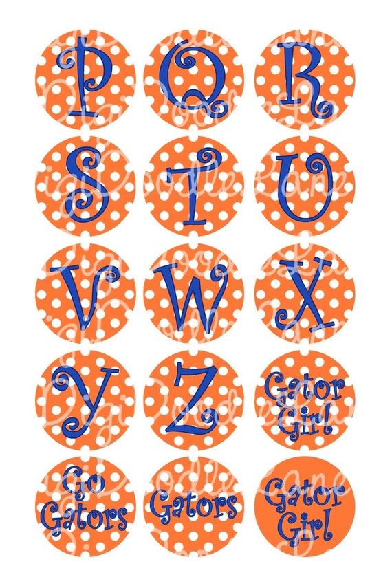 Orange and White Dot with Blue Letters Initials Set 1 Inch Circles Bottlecap Images for Bottlecaps Hairbows Jewelry Magnets INSTANT DOWNLOAD