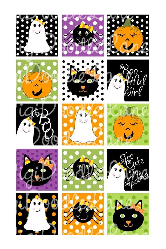 Candy Corn Halloween Girly 1 Inch Squares Collage Sheet 4 x 6 Inch JPG for Bottlecaps Hairbows Jewelry Magnets and More