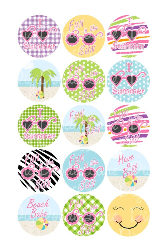 Summer Fun Bottlecap Image Beach Bottlecap Image 1 Inch Circles Collage Sheet 4x6 Inch JPG for Bottlecaps Hairbows Jewelry INSTANT DOWNLOAD