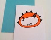 Orange Spike Monster Screenprinted Card