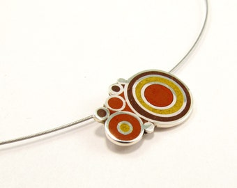 Sterling Silver Pendant -  - Wood Tones - Brown - Colored Bubbles