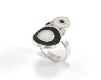 Sterling Silver Ring, Black, White, Bubbles, Contemporary, Modern