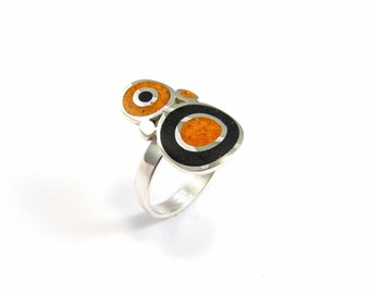 Sterling Silver Ring, Colorful, Bubbles, Black, Orange, Contemporary, Modern