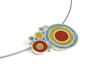 Bubbles Pendant, Sterling Silver, Modern, Circles, Turquoise Red Yellow