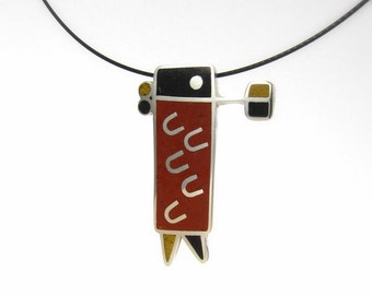 Sterling Silver Pendant, Tribal, Ethnic, Black, Mustard, Maroon, Color, Modern, Contemporary, OOAK