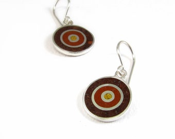 Sterling Silver Earrings, Concentric, Brown, Circles, Chocolate Maroon Mustard, Wood Tones, Modern, Contemporary