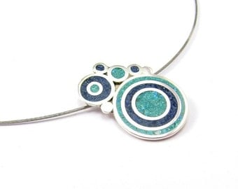 Sterling Silver Pendant, Blue and Turquoise Bubbles, Color Bubbles