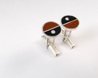 Sterling Silver Cuff Links, Divided Circles, Geometric, Maroon, Black, Modern, Contemporary, Wedding