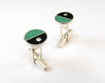 Sterling Silver Cuff Links, Geometric, Divided Circles, Green, Black, Modern, Contemporary