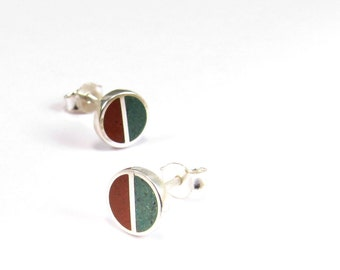 Sterling Silver Earrings, Divided Circles, Cement Green and Red, Colors, Studs, Modern, Contemporary, Minimal