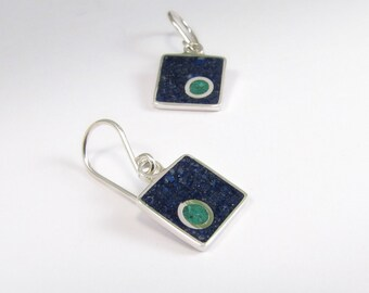 Square Dangle Earrings, Sterling Silver Earrings, Blue Square