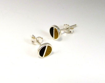 Sterling Silver Earrings, Black and Mustard, Divided Circles, Modern, Contemporary