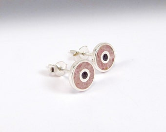 Pink Ear Studs, Sterling Silver Earrings, Soft Colors, Circles, Pink and Purple, Ear Studs, Modern, Contemporary