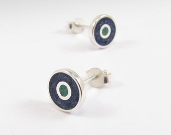 Sterling Silver Earrings, Blue and Green, Ear Studs, Modern, Contemporary, Minimal