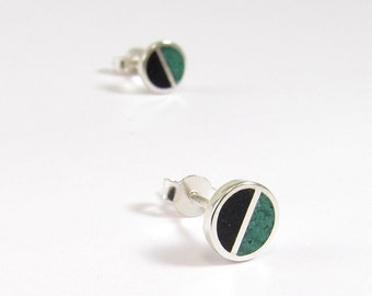 Sterling Silver Earrings, Black and Green, Ear Studs, Divided Circles, Modern, Contemporary, Minimal