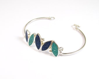 Sterling Silver Bracelet, Blue, Turquoise, Modern, Contemporary Jewelry, Colorful, Small Seeds