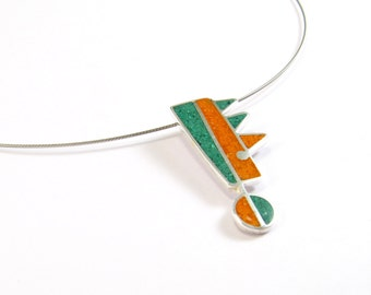Sterling Silver Pendant, Green, Orange, Color, Geometric, Modern, Contemporary, OOAK