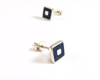 Sterling Silver Earrings, Blue, Squares, Ear Studs, Modern, Contemporary, Minimal