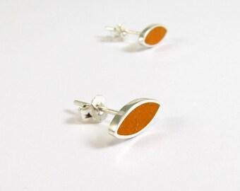 Orange Ear Studs, Sterling Silver Earrings, Small Seeds, Modern, Contemporary, Minimal
