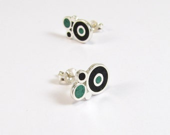 Sterling Silver Earrings, Bubbles, Black and Green, Modern, Contemporary, Minimal