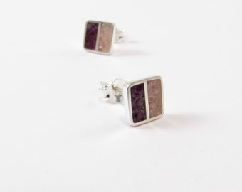 Sterling Silver Earrings, Soft, Purple and Pink, Squares, Modern, Contemporary, Minimal