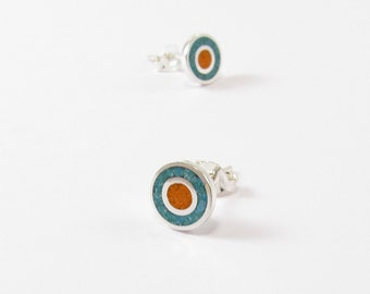 Sterling Silver Earrings, Turquoise and Orange, Ear Studs, Modern, Contemporary