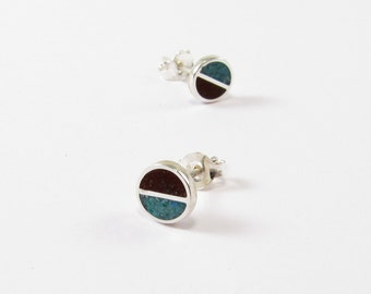 Sterling Silver Earrings, Chocolate and Turquoise, Ear Studs, Modern, Contemporary