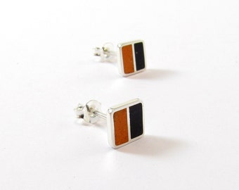 Sterling Silver Earrings, Black and Orange, Squares, Ear Studs, Modern, Contemporary, Minimal