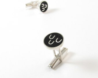 Sterling Silver Cuff Links, Black, Circle, Modern, Contemporary, Wedding