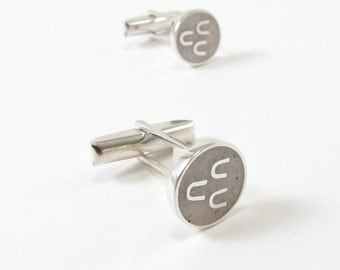 Sterling Silver Cuff Links, White, Circle, Modern, Contemporary, Wedding