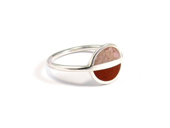 Sterling Silver Ring, Contemporary Jewelry, Modern Ring, Pink, Red, Minimal, Saturn