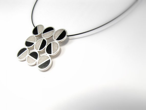 Sterling Silver Pendant - Divided Circles  - Black and White - Geometric Design