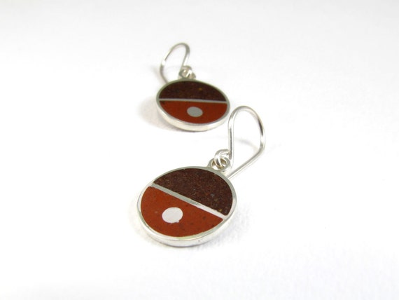 Sterling Silver Earrings, Divided Circles, Brown,  Colors, Modern, Contemporary, Minimal