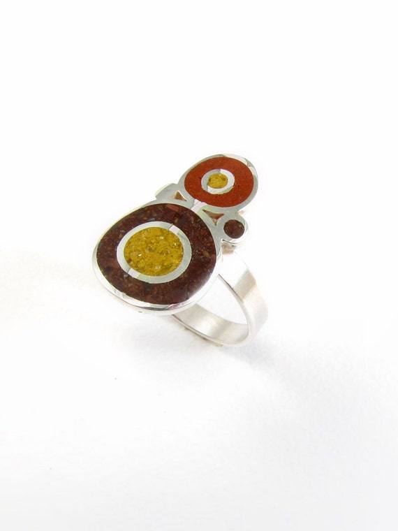 Sterling Silver Ring, Brown, Bubbles, Modern, Contemporary