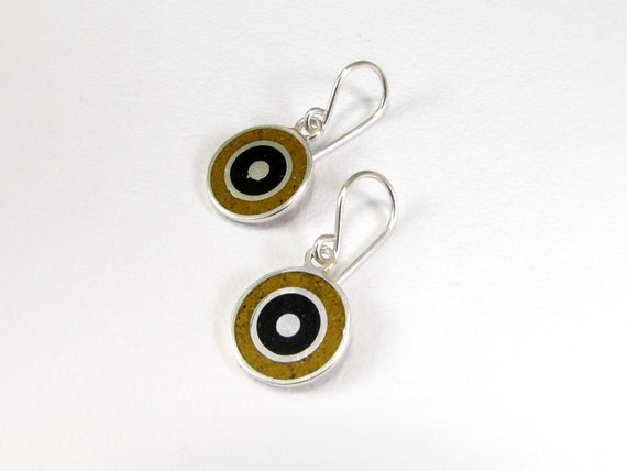 Sterling Silver Earrings, Black and Mustard Circles, Dangle, Modern, Contemporary