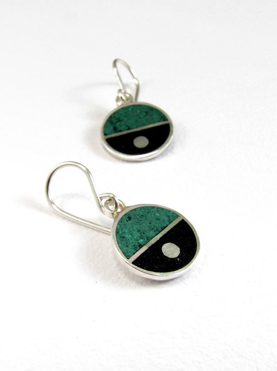 Sterling Silver Earrings, Divided Circles, Black and Green, Dangle, Modern, Contemporary