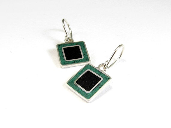 Sterling Silver Earrings, Black and Green, Squares, Modern, Contemporary