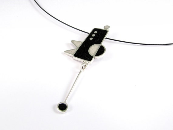 Sterling Silver Pendant - Pendulum Motion - Geometric  -  Black and White - Fun Movement